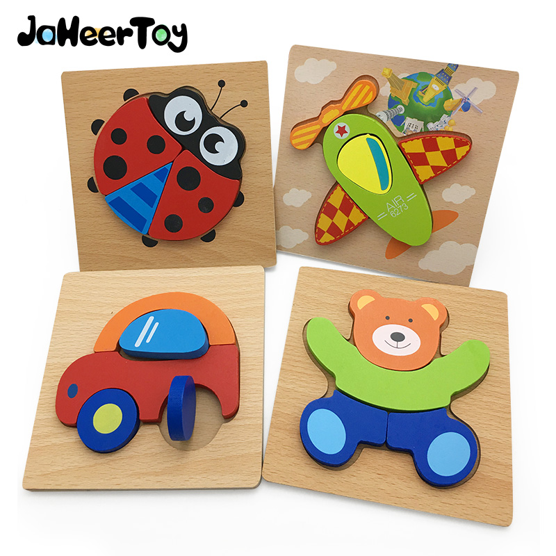 JaheerToy 3D Wooden Puzzle Baby Toys for Children Cartoon Animal Puzzles Montessori Educational Toy for Kids Beech Wood jaheertoy baby toys figure building blocks lion and elephant animal pattern funny educational wooden toys montessori kids
