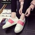COOTELILI 35-40 Plus Size Primavera Apartamentos Mulheres Sapatos de Couro Macio Sapatos Casuais Sapatos de Desporto Meninas Mistos Sólidos Dedo Do Pé Redondo Calçado feminino