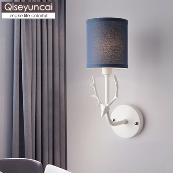 Qiseyuncai Nordic bedroom bedside wall lamp American minimalist deer head study room living room aisle background wall lamp