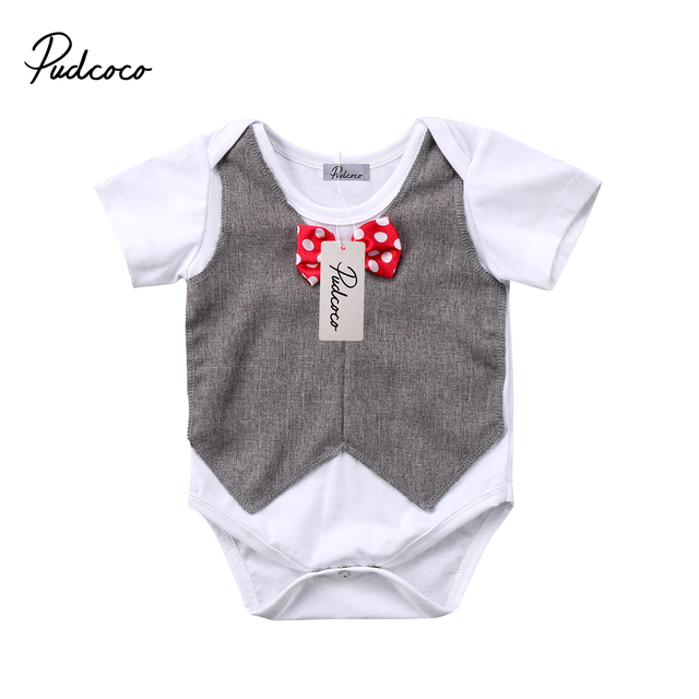 336970044a8d Newborn Toddler Baby Boy Bowtie Bodysuit Clothes Babies Little Gentleman  Bodysuit Gentlemen Top Jumpsuit Outfit