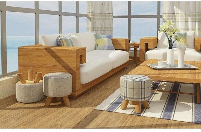 Dormitorio estudio madera taburete pierna Lino asiento Sala beige ...
