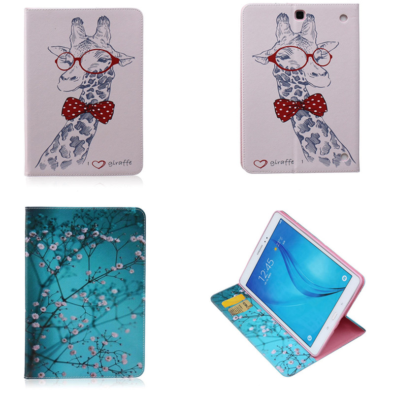 BF-Colorful Painted Cartoon Flip PU Leather Stand Tablet Case For Funda Samsung Galaxy Tab A 9.7 T551 T550 SM-T555