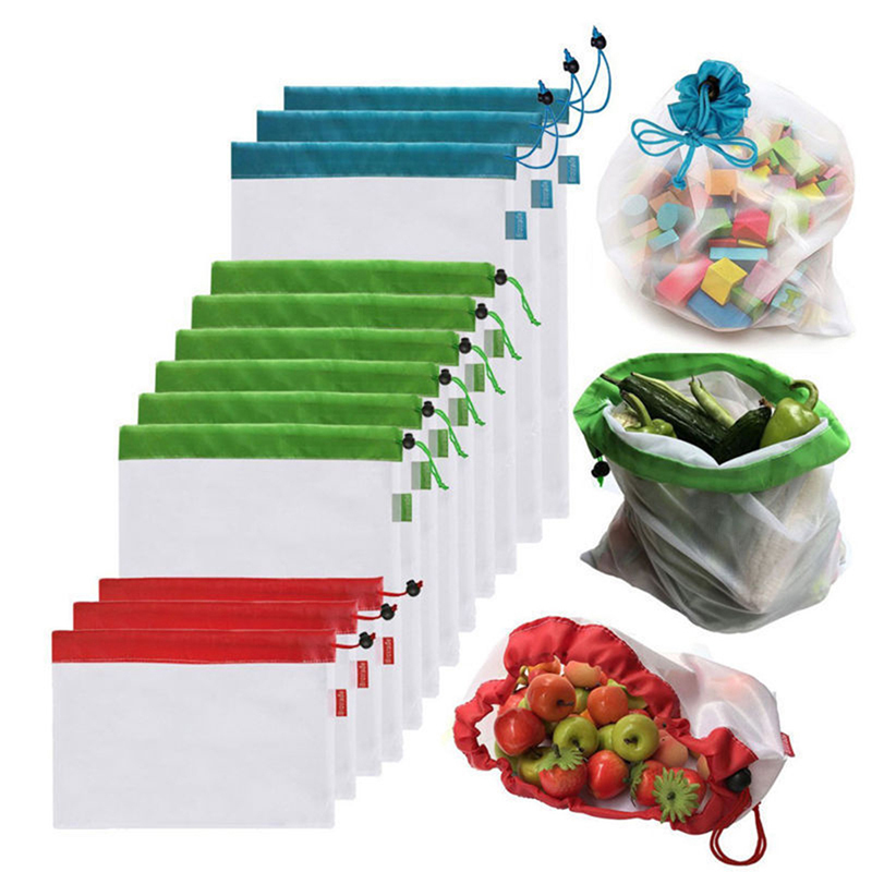 12 pcs/lot Réutilisable Mesh Produire Des Sacs Légumes Fruits Jouets Pochette De Rangement Noir Corde Double-Piqué D'épicerie Organisateur Sac À Main