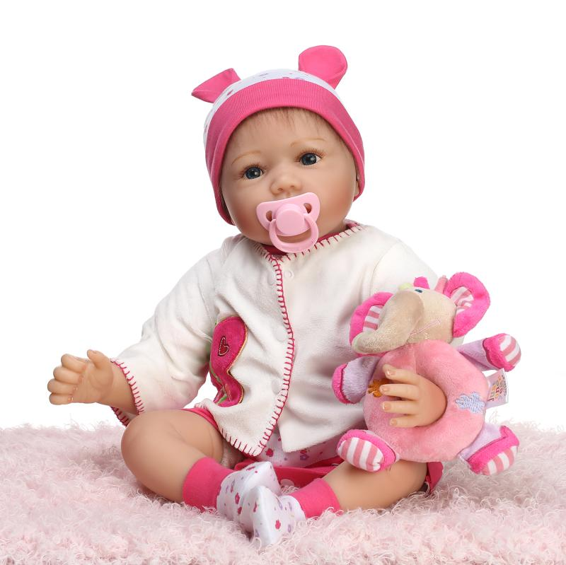 New Soft Silicone Reborn Baby Doll Toy Lifelike Brithday Gift Present Play House Princess Newborn Girl Babies With Nipple Bottle 55cm soft body silicone reborn baby dolls toy lifelike newborn boy babies doll play house toy collectable doll christmas gift