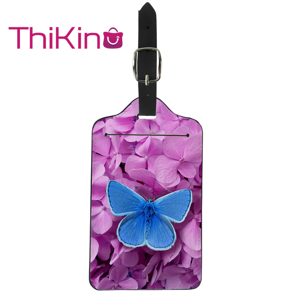 Thikin Butterfly Luggage Tag Women Travel Accessories PU Suitcase ID Address Holder Baggage Boarding Tag Portable Label