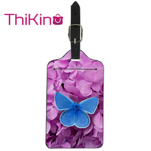 цена Thikin Butterfly Luggage Tag Women Travel Accessories PU Suitcase ID Address Holder Baggage Boarding Tag Portable Label онлайн в 2017 году