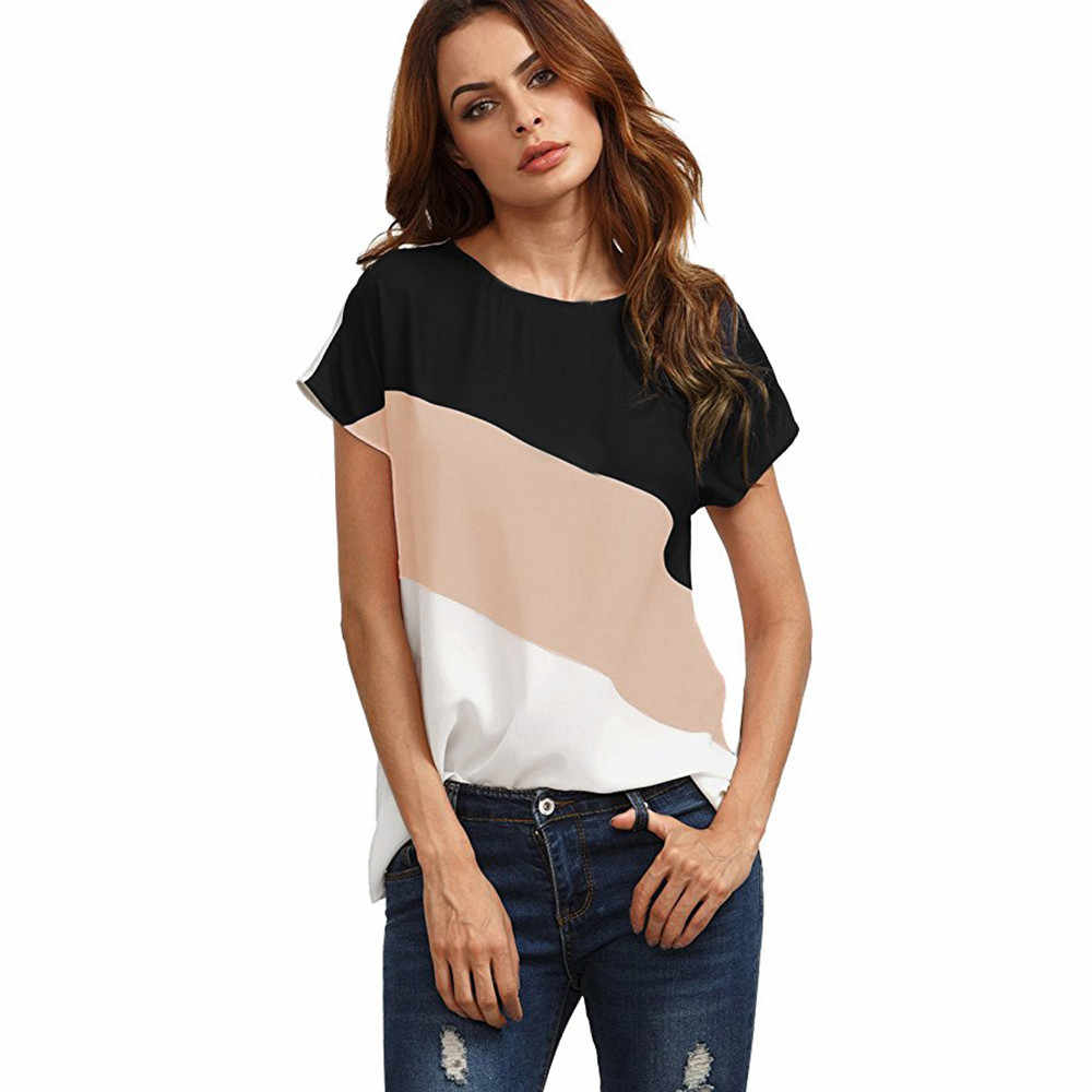 3ef3c8239278 ... Free Ostrich 2019 Women Striped Casual Chiffon Blouses Shirts Short  Sleeve O-neck Femme Blouse ...