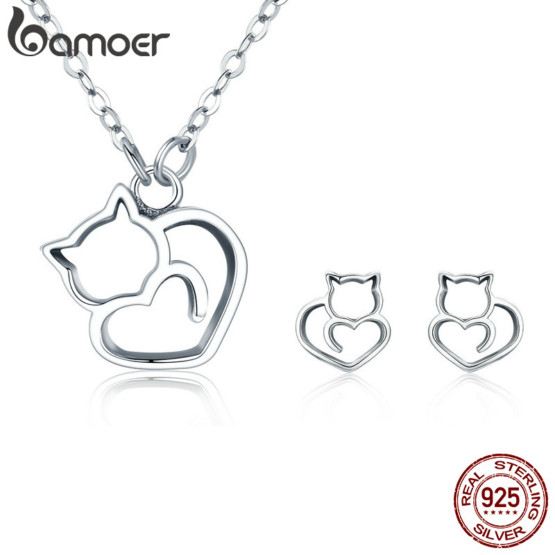 BAMOER 100% 925 Sterling Silver Lovely Pussy Cat Women Jewelry Set Necklace Earrings Jewelry Sets Sterling Silver Jewelry GiftBAMOER 100% 925 Sterling Silver Lovely Pussy Cat Women Jewelry Set Necklace Earrings Jewelry Sets Sterling Silver Jewelry Gift