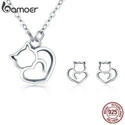 BAMOER 100% 925 Sterling Silver Lovely Pussy Cat Women Jewelry Set Necklace Earrings Jewelry Sets Sterling Silver Jewelry Gift