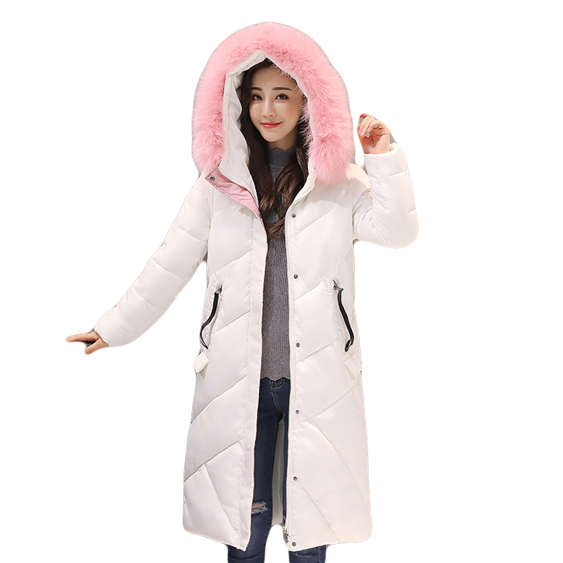 2017 New Style Women Winter Jacket Female Pink Large Fur Collar Hooded Coats Thicken Warm Long Slim Down Cotton Parkas CM1351 women winter coat leisure big yards hooded fur collar jacket thick warm cotton parkas new style female students overcoat ok238