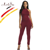 ArtSu Women Skinny Jumpsuit Cross Bandage Backless Black Jumpsuits Rompers Red Spring Summer Sexy Halter Party
