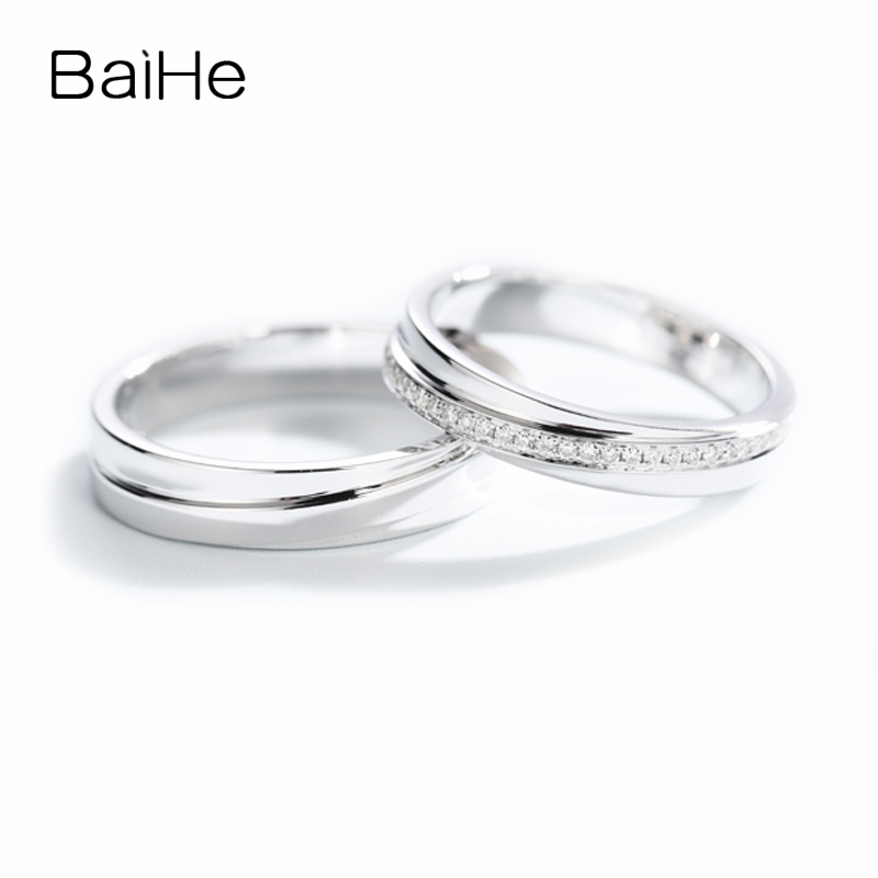BAIHE Solid 14K White Gold 0.11ct Certified H/SI Round Cut 100% Genuine Natural Diamonds Jewelry Wedding Band Trendy Gift Ring