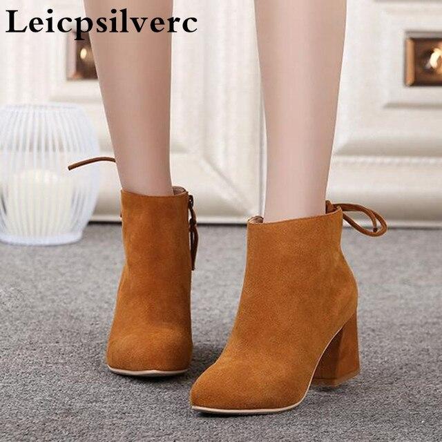 Новые зимние женские полусапожки из скрабовой кожи; Ботинки martin в британском стиле на высоком каблуке в Корейском стиле