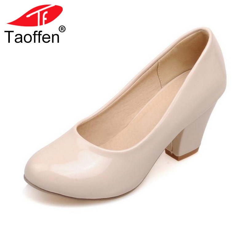 TAOFFEN Size 32-48 9 Colors women High Heels shoes Round Toe Patent Leather Thick High Shoes Women Pumps classic Dress Footwears цена
