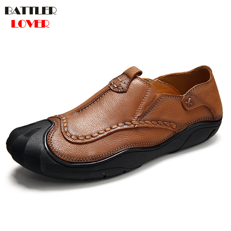 Rubber Toe Cow Leather Loafers Men Genuine Leather Flat Shoes Men Casual Climbing Shoes Slip On Shoe Outwear Luxury Designer2017 high end breathable men casual shoes loafers genuine leather lace up rubber handmade slip on sewing lazy shoes italian designer