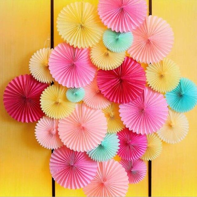 1pcs Cute Decorative Wedding Paper Crafts Flower Origami Fan DIY Birthday Party Babyshow Decorations