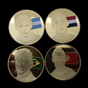 40 pcs The Messi Ronaldo Neymar Robben football player sport star badge gold  plated soccer colored 40 mm souvenir coin