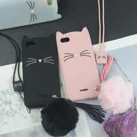 Cute 3D Cartoon Silicon Case for Xiaomi Redmi 6A Cases Japan Glitter Beard Cat Lovely Ears Phone Cover 6 Pro Redmi6 6Pro