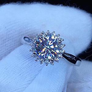 Image 4 - עגול כסף Moissanite טבעת 1ct D VVS יוקרה Moissanite Weding טבעת לנשים
