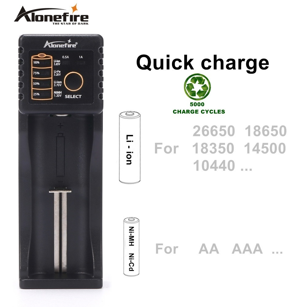 Alonefire MC101 Intelligent <font><b>Li</b></font>-<font><b>ion</b></font> 3.7v Rechargeable <font><b>batteries</b></font> Ni-MH Ni-Cd 1.2V USB charger For 26650 18650 18350 <font><b>16340</b></font> 10440 image