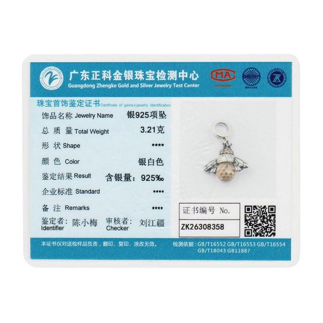 BAMOER 925 Sterling Silver Lovely Orange Bee Animal Pendants Necklace for Women Fine Jewelry CC035 5