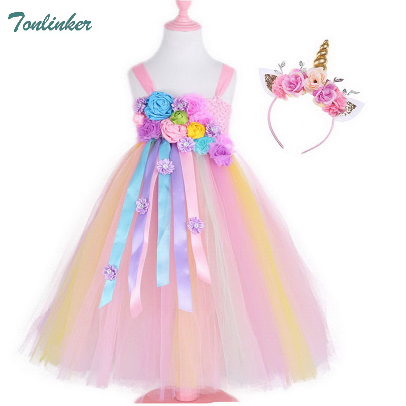 Girls Unicorn Costume with Flower Beadband Hair Hoop Princess Party Tutu Dress Children Kids Costumes 2-10