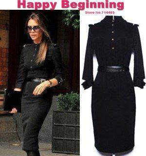 2017new Autumn Victoria Beckham Fashion Women Slim Stand Collar Epaulet Elegant Cotton Bodycon Pencil Dresses Black S Xl D54 In From