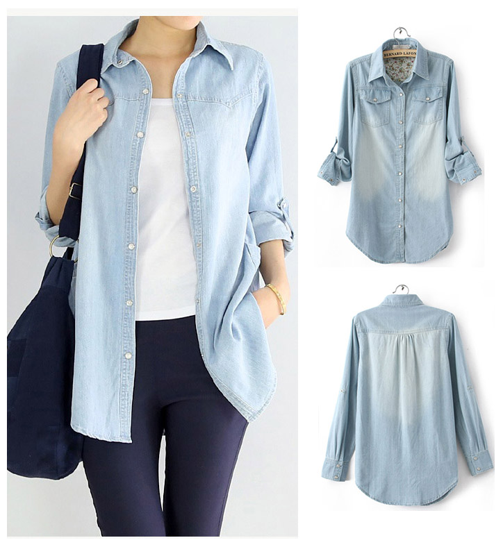 081009a1 New Women's Basic NWT Jean Denim Chambray Lapel Long Sleeve Pocket Pearl  Buckle Tops Button Down Shirt Tees Blouses Shirts