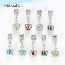 Silver Plated Charms Bead Crown Pendant Crystal Dangle Beads Fit Original Pandora Bracelets Women Charms Bead DIY Jewelry(China)