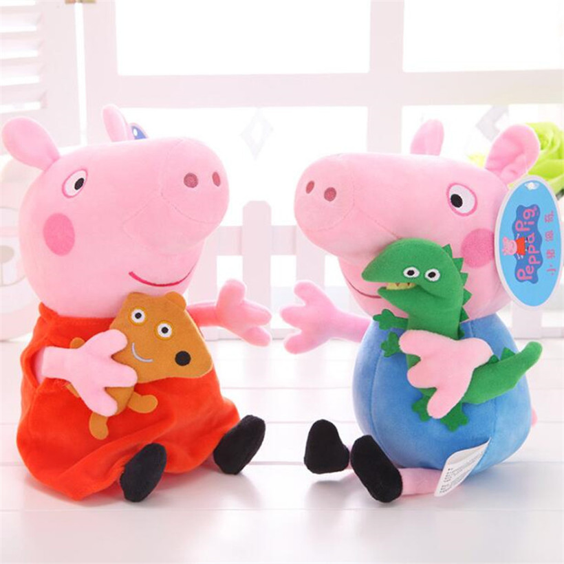 19 CM Original Peppa Pig Family George Dad Mom Pelucia Stuffed Doll Plush Toys For Children Birthday Gifts