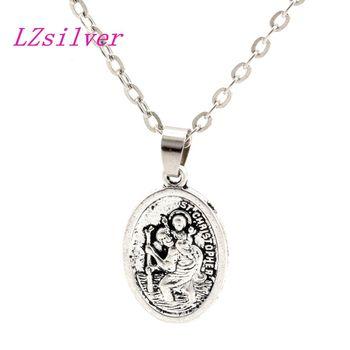 50pcs Zinc Alloy ST Christopher Charms Pendant necklace Clavicle chain C12