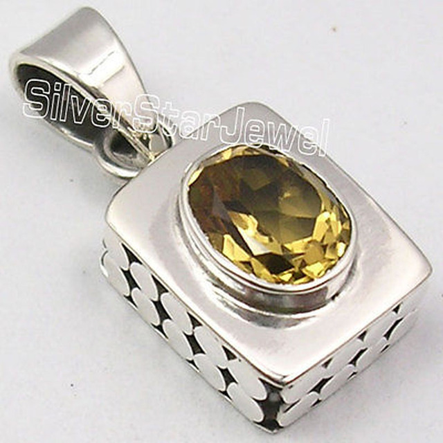 Pure Silver YELLOW CITRINE Gem BOX Pendant 2.5 CM MADE IN INDIA JEWELRY