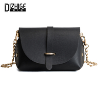 DIZHIGE Brand Fashion High Quality PU Leather Women Bags Solid Messenger Bag For Women Designer Chain