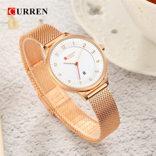 CURREN Rose Gold Watch Women Watches Ladies Creative Steel Women's Bracelet Watc
