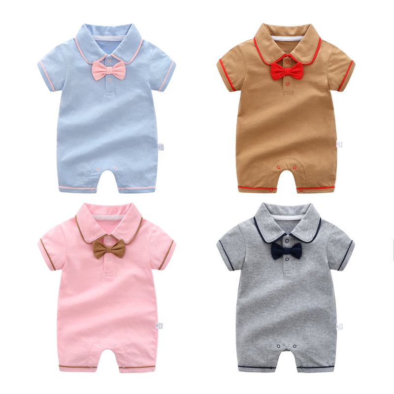 Newborn Baby Baby Boys Girls Summer Clothes Pure Cotton Go Out   Rompers   Short Sleeved Jumpsuit Baby Boys Climbing Clothes Pajamas