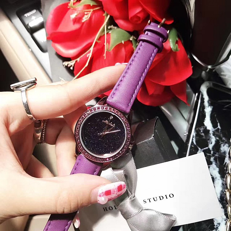 2018 Top Women Quartz Watch!Fashion Purple Female Diamond Dress Watch Luxury Lady Rhinestone Leather Strap Wristwatches Clocks casual women fashion watch lady dress wristwatches quartz clocks women leather strap watches relogio clasiic sport gift g031