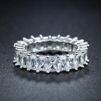 Size 6 10 Sparkling Luxury Jewelry White Gold Filled Princess Cut Full Clear 5A CZ Zirconia