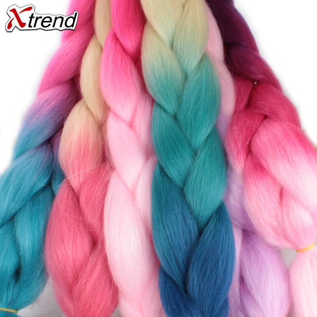 Xtrend Ombre Jumbo Braids Hair 24inch 100g Synthetic Crochet Braids Hair Extensions Fiber For Women One Tone Two Tone Three Tone 1