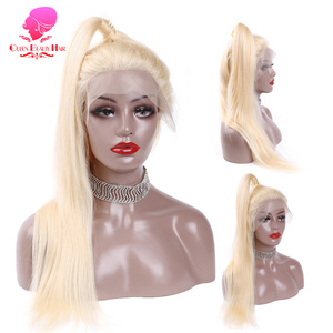 Image 2 - QUEEN BEAUTY Brazilian Lace Front Wig 613 Blonde Long Straight Remy Human Lace Wigs with Baby Hair 150% Density 8   26 inch