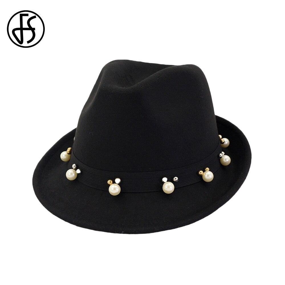 df9be3adf54cdf ... FS Black Red Ladies Winter Fedora Men Hats Wide Brim Felt Top Jazz Hat  Classic British ...