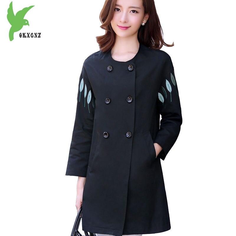 Plus Size New Women Spring Fall Windbreaker Coat Fashion Pure Cotton Embroidery Casual Costume Fat MM Loose Outerwear OKXGNZ 939