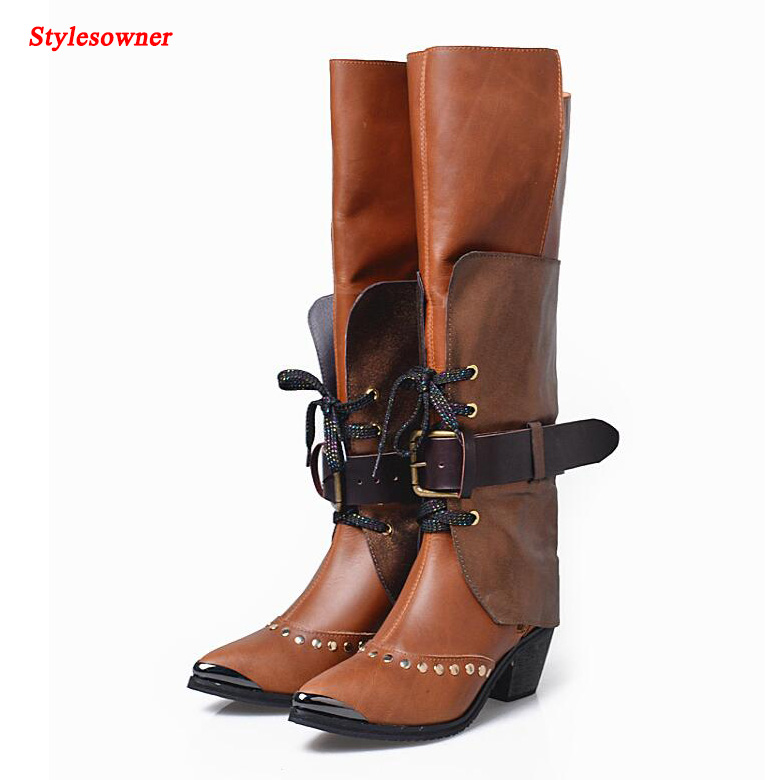 stylesowner Pointed Toe Chunky Heel Lady Boots Cross-tied Zapatos Mujer Patchwork Buckle Warm Winter Knee-High Boot Shoes Female
