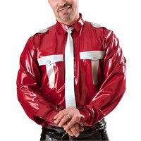 Латексная Униформа блузка для мужчин латексное пальто красный резиновый костюм 0,4 мм толщина