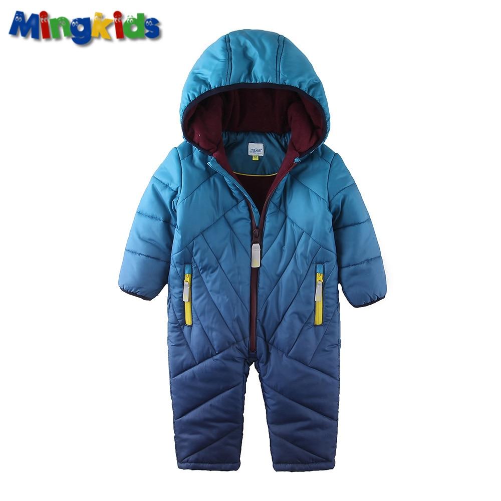 Mingkids Baby Snowsuit Infant Boy Rompers Ski Jumpsuit Outdoor Winter Warm Thicken Snow Suit for boys fleece padded warm thicken baby rompers long sleeve organic cotton autumn