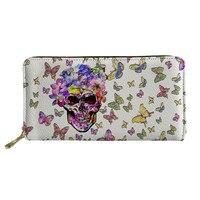 d315a2a3f THIKIN Butterfly Skull Pattern Women Wallet With Zipper Money Bag Fashion  Lady Purse Phone Money Bag