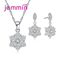 Jemmin Six Petal Flowers Pendant Jewelry Set Necklace/Earrrings For Women S90 Silver Color Fine Jewelry New Arrival.