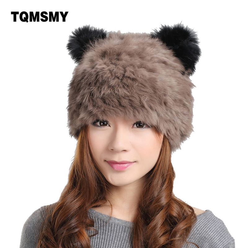 100% Real knitted rabbit fur hat cartoon panda keep warm ear cap winter hats for women cap lady girls beanies rabbit hair berets ороситель вибрационный truper 17 сопел