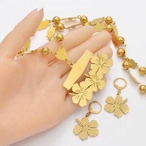Image 3 - Anniyo collier et boucles doreilles avec nom personnalisable micronésie Guam, ensembles de bijoux à fleurs hawaïennes, pour lettres imprimées, cadeau danniversaire #107321