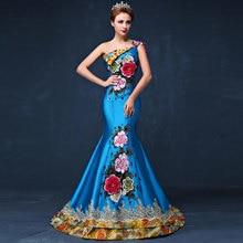 Blue Long Mermaid Evening Dress Embroidery Wedding Cheongsam Chinese Dresses Robe Chinoise Trailing Traditional Qipao