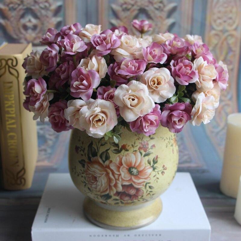 Austin 15 heads Autumn Fake Silk Flowers Artificial Rose Wedding Party Home Floral Flower Arrangement Peony